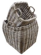 Square Grey Rattan Basket with Curved Body and Ear Handles