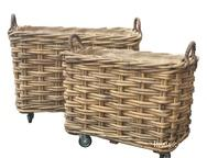 Rectangular Basket with Wheels and Liner