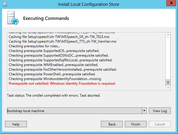 Pré-requisito não satisfeito - Windows Identity Foundation for necessário.