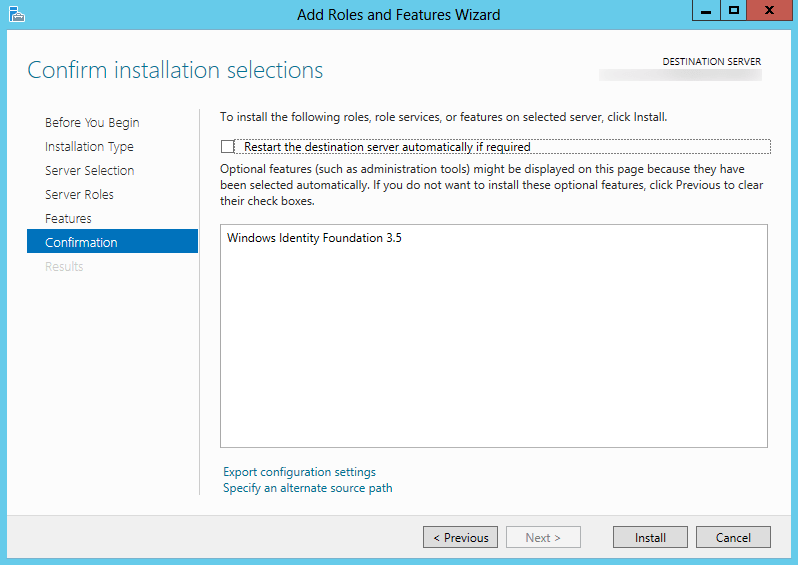 Server 2012 - Adicionar Featuers Assistente de Funções e - Windows Identity Foundation 3.5.png - Instalar