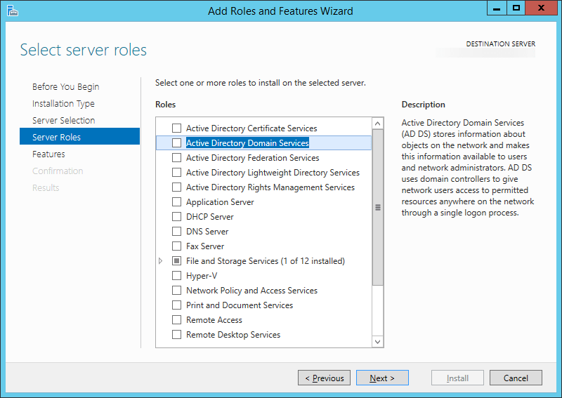 Add Roles and Features Wizard - Select server roles