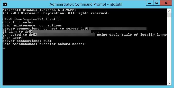 ntdsutil - transfer schema master