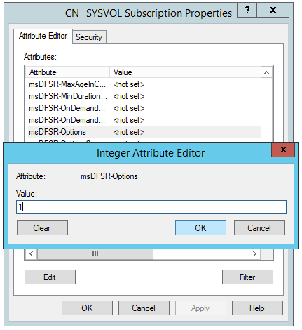 ADSI Edit - Default Naming Context - Domain Controllers - DC01 - DFSR-LocalSettings - Domain System Volume - msDFSR-Options - 1