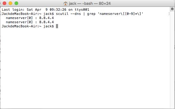 check DNS server on MAC