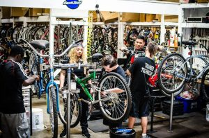 Our Bike Technicians and volunteers working side by side