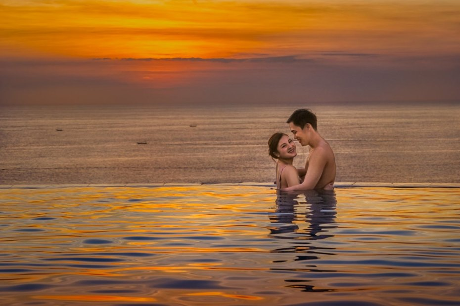 Bathing in the sunset, painterly style photography