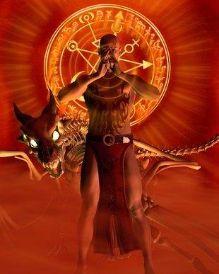 An Elementalist preparing a spell
