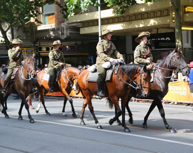 Light horse troops march in Melbourne on Australia Day January 26 2019