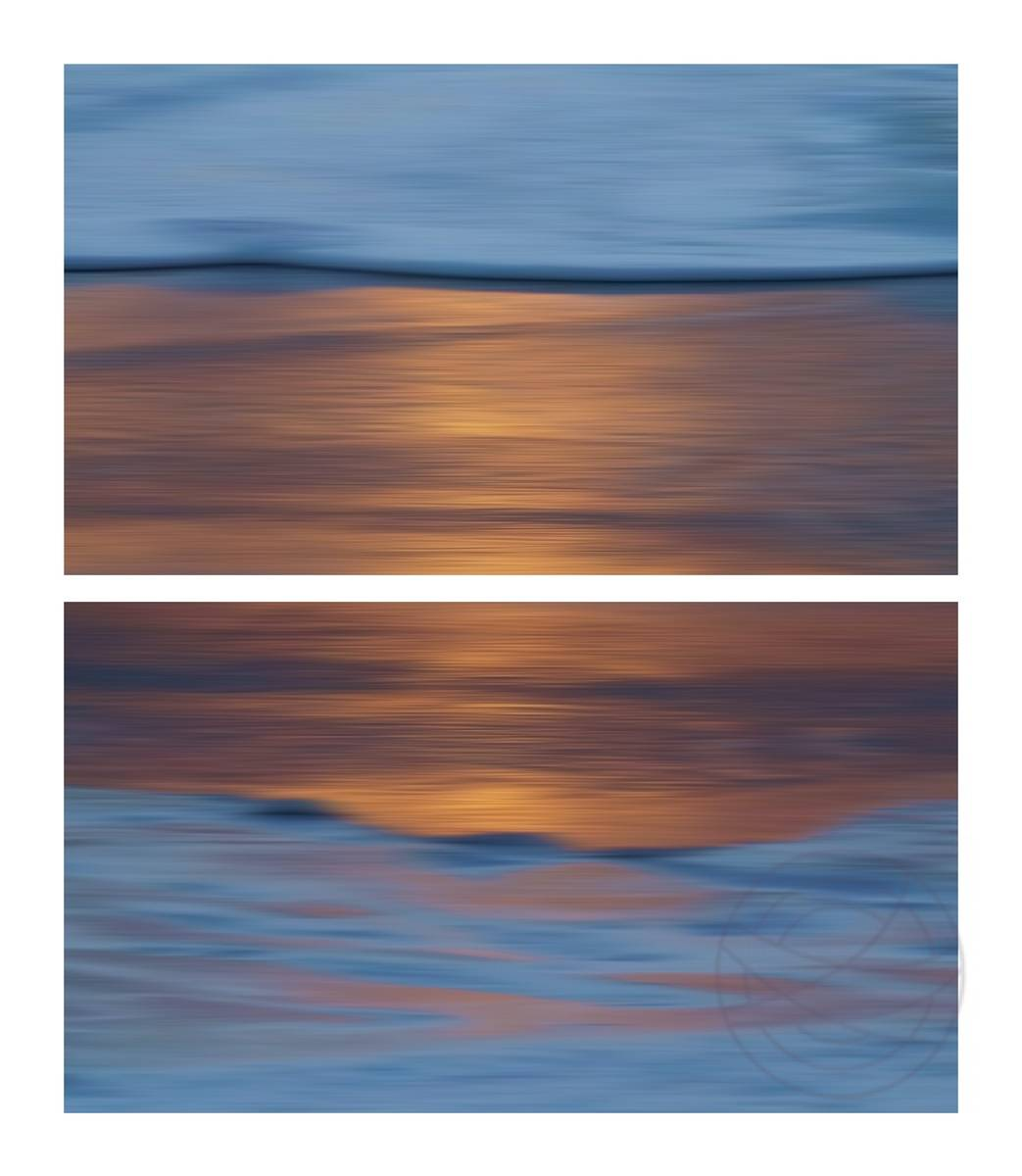 Submerged - A beautiful autumn evening, enjoying a sunset over the sea and looking at the surf, it's as if the foam of the breaking waves brings the colors to land, where they then submerge in the cool, wet sand.  - Abstract realistic fine art seascape photography by Jacob Berghoef