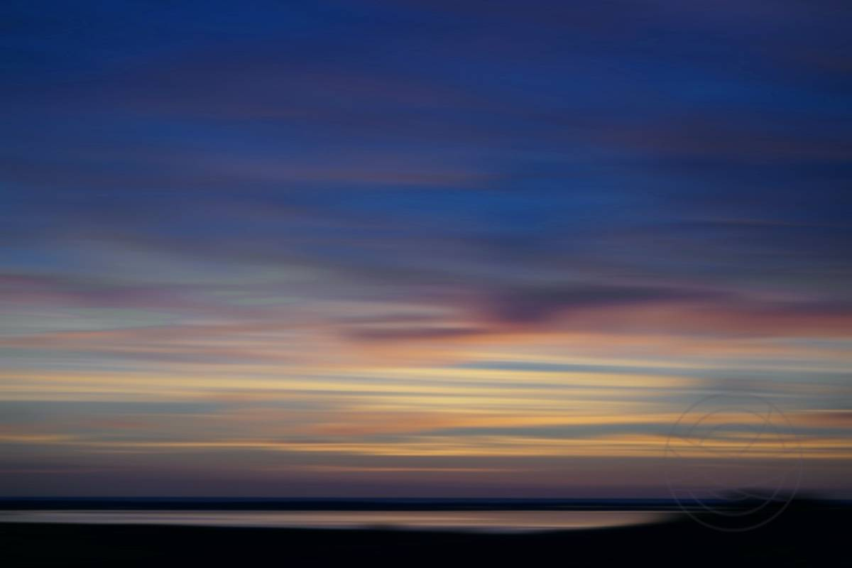 Autumn Sunset (1) - Sunset over the North Sea, as seen from the hamlet where I live in North Jutland, Denmark. - Abstract realistic fine art sunset photography by Jacob Berghoef