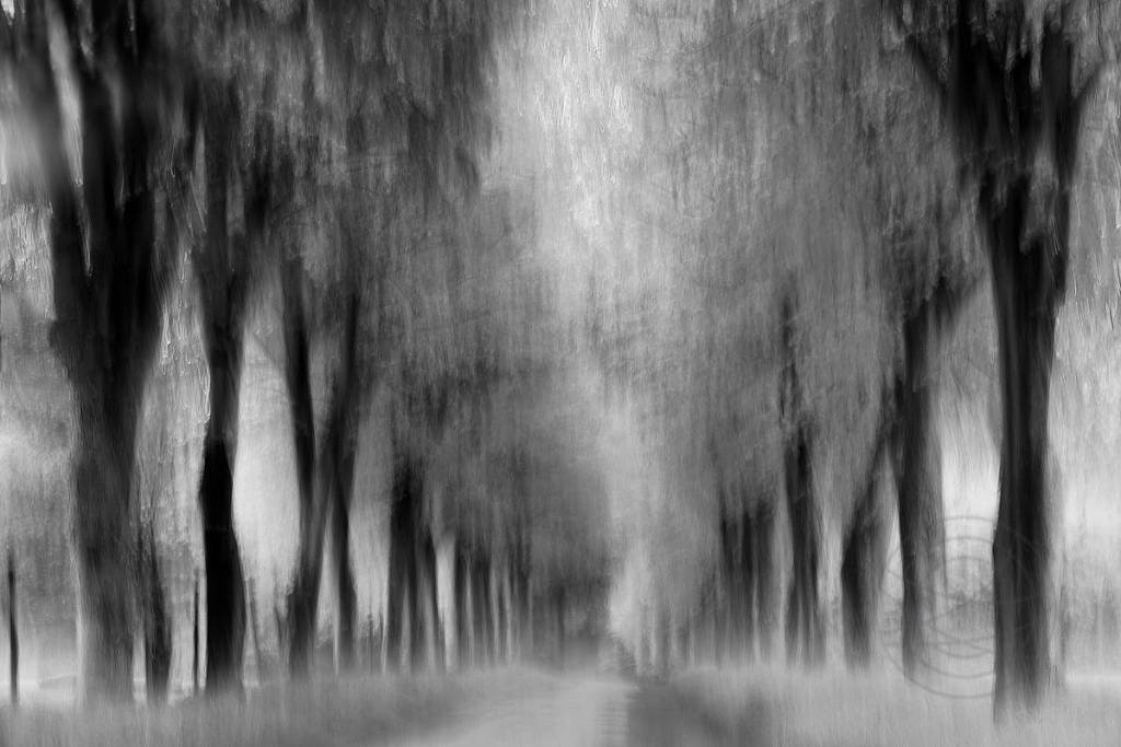 Endless Road - A dark gray day. It is beginning to get dark and the wind is finally abating. A curtain of rain obscures the view. But I know this road, I know we're almost home. - Impressionistic fine art landscape photography by Jacob Berghoef