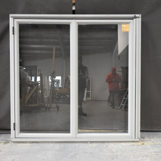 french grey (green'ish) aluminium bi-fold window - right to left