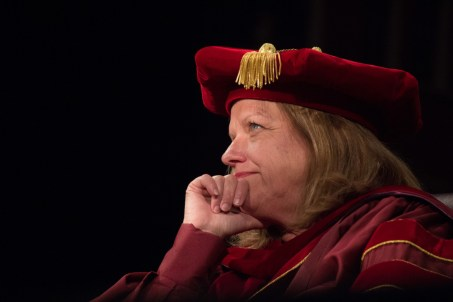 President Jayne Marie Comstock Williamson looks outward in Byrnes Auditorium during her first Convocation as President of Winthrop. Comstock would later be fired by the Winthrop Board of Trustees for violating state ethics laws.