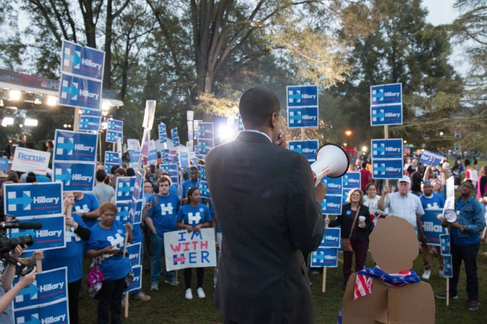Bakari Sellers rallies Hillary Clinton supporters outside Byrnes Auditorium.