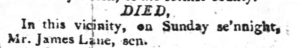 Death of James Lane, Sr., from the Raleigh Register