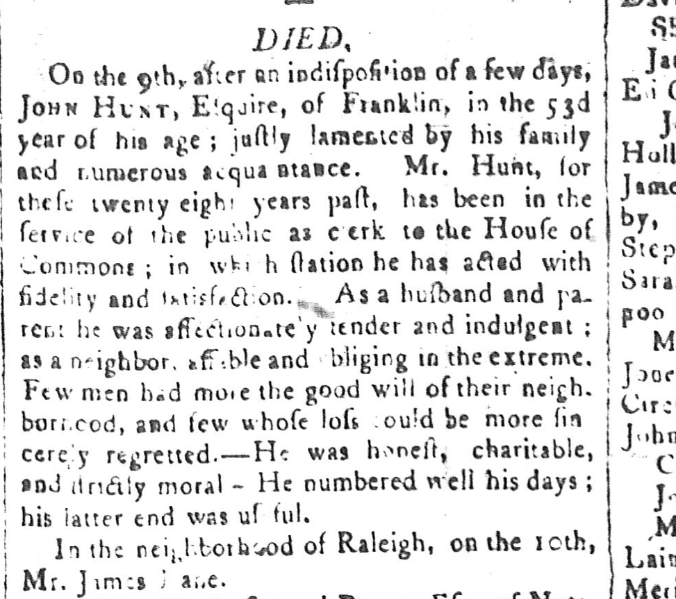 The other James Lane's death was reported in the Raleigh Minerva