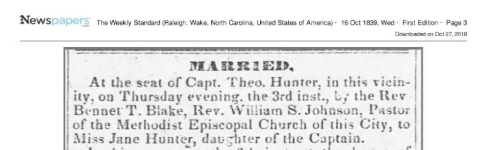 Jane Hunter's first marriage to William S. Johnson in 1839 from Weekly Standard
