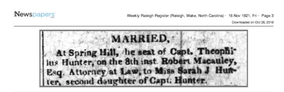 Record of Sarah J. Hunter and Robert Mcauley's marriage in 1821