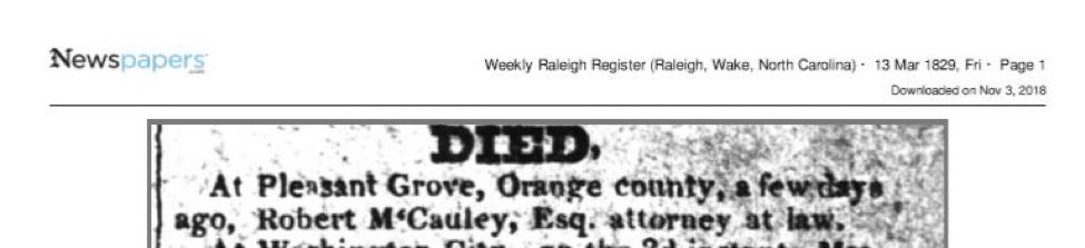 record of Sarah J. Hunter's husband, Robert McCauley's death in 1829