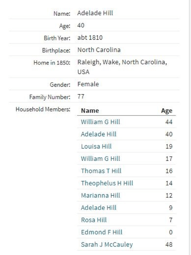 From the U. S. census record of Wake County of 1850 showing Sarah McCauley enumerated in Raleigh at the home of her sister, Adelaide Hunter Hill