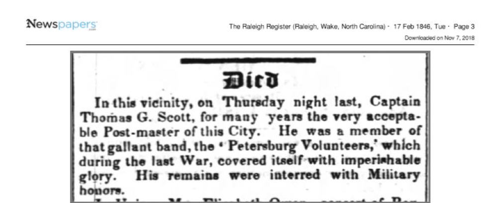 Thomas G. Scott's obit from the Raleigh Register