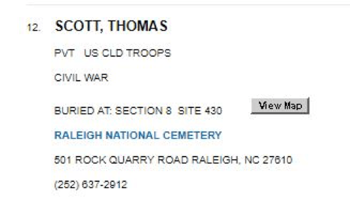 Listing at Raleigh National Cemetery for the other (African American) Thomas Scott