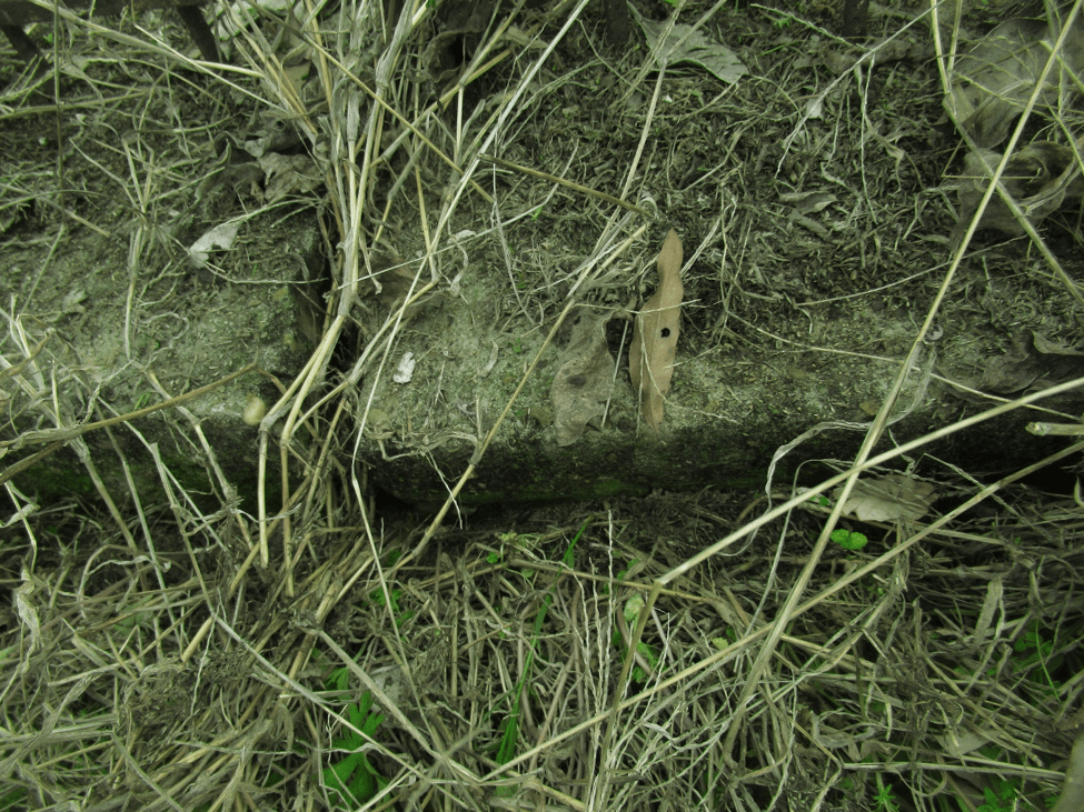 Close-up of cement foundation of Hunter Cemetery wall