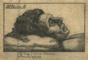 Figura 7. Agonía, de Artemio Ocaña (1930). Carboncillo sobre papel, 14,6 x 10,1 cm. Archivo José Carlos Mariátegui.