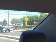 Yes, that is a giant crash dummy.
