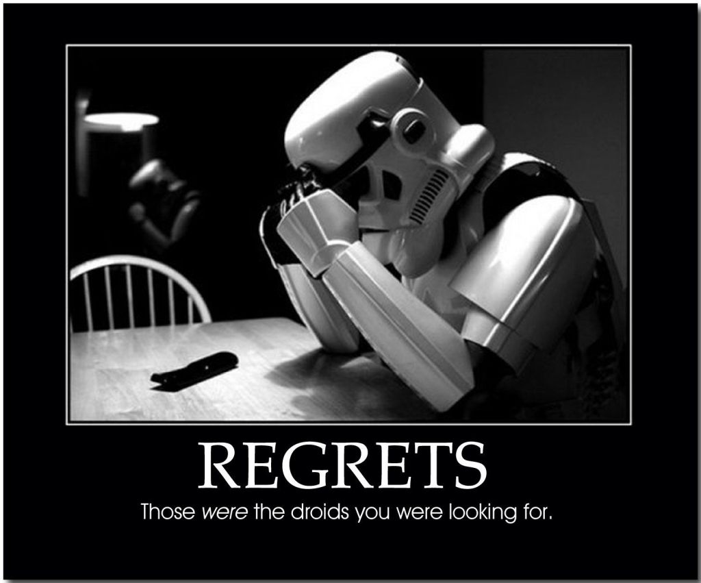 Stormtrooper regreting how he got fooled by a jedi.