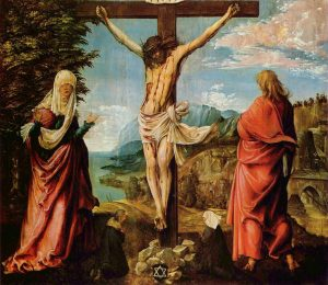 ← → Crucifixion Scene, Christ On The Cross With Mary And John by Albrecht Altdorfer c. 1515-1516