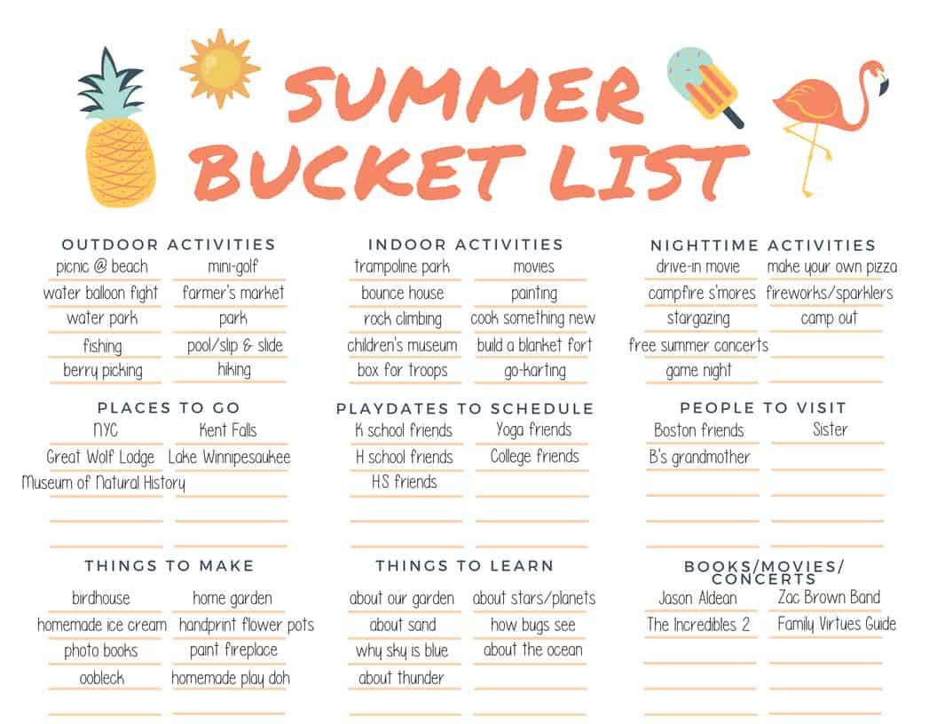 Summer Bucket List Template (and Calendar!) | Jac of All ...