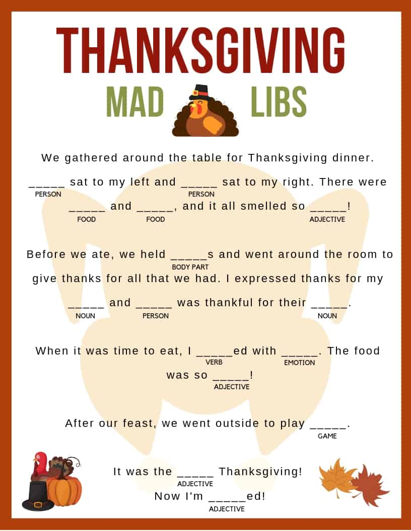 Download your free printable Thanksgiving Mad Libs! Kids and adults of all ages can enjoy!