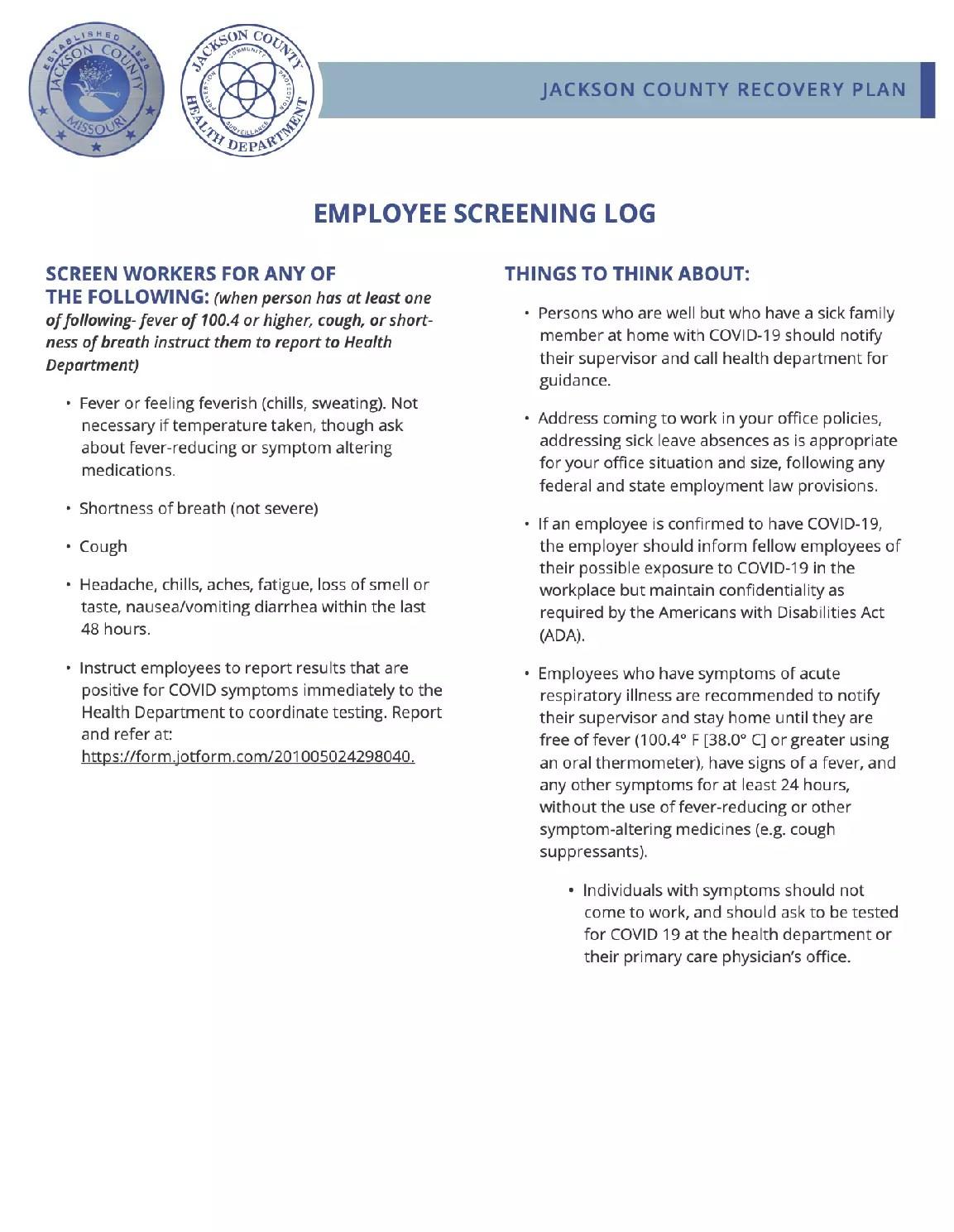 Employee Screening Log
