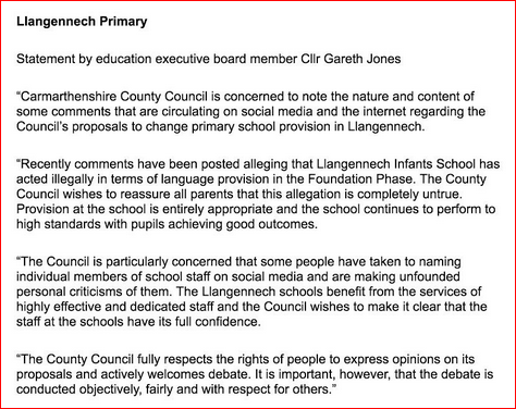 Llangennech statement Gareth Jones
