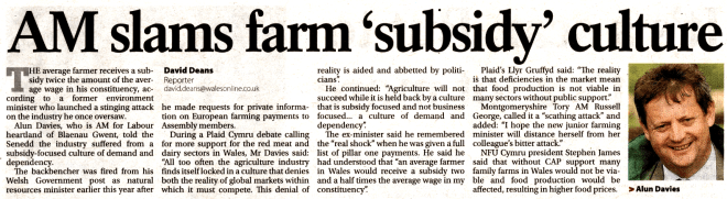Alun Davies Subsidies WM