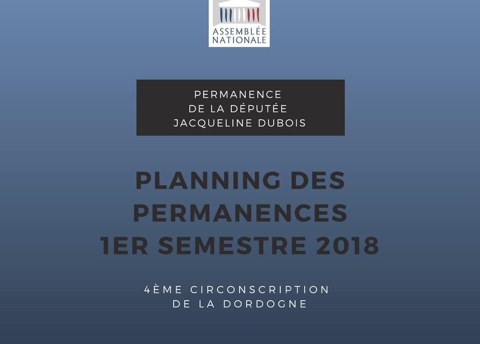 Planning des permanences 1er semestre 2018