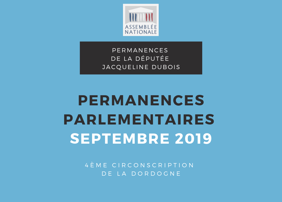 Permanences parlementaires SEPTEMBRE 2019