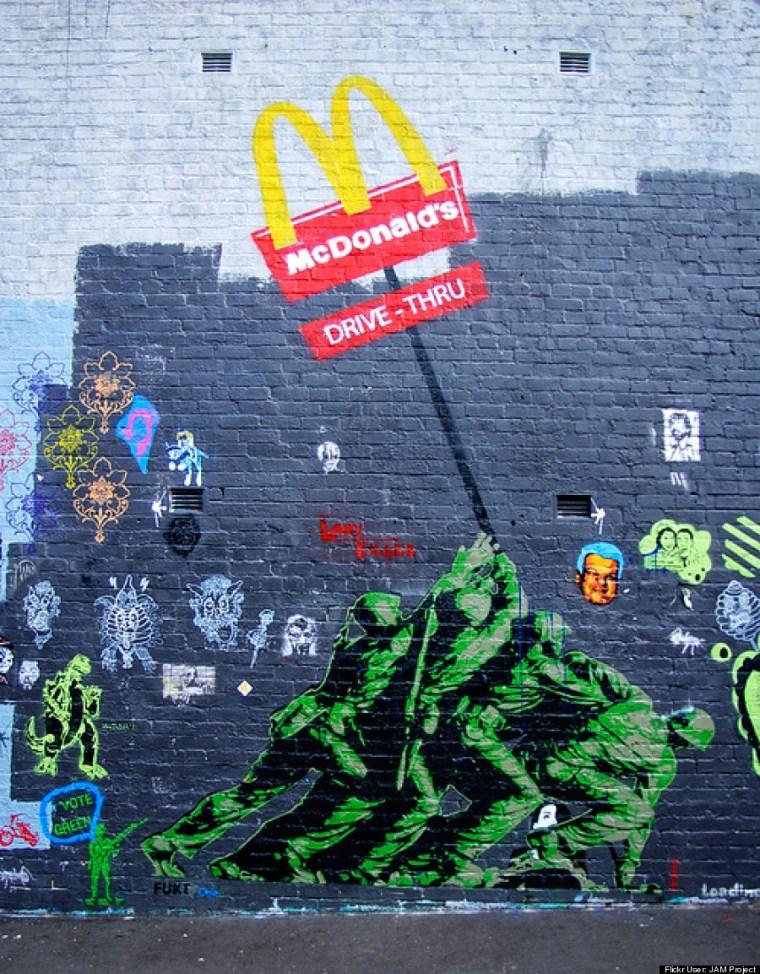 Chippendale stencil wall revisit. Iwo Jima McDonald's by FUKT
