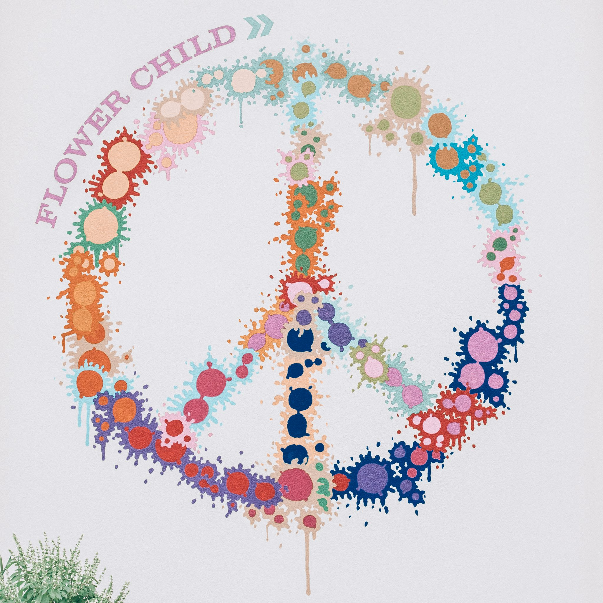 Bright White Peace Sign Wall