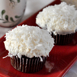 Snowball Cupcake Recipe Christmas Dessert chocolate coconut Jacquelynne Steves