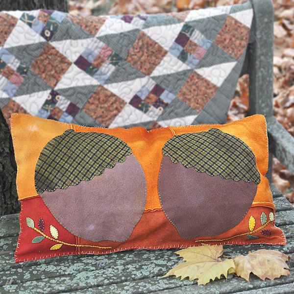 Wool Applique Acorn Pillow