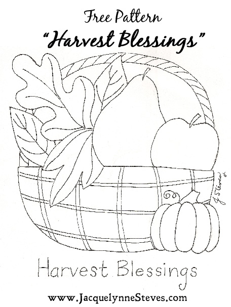 Harvest Blessing Free Embroidery Pattern- Jacquelynne Steves