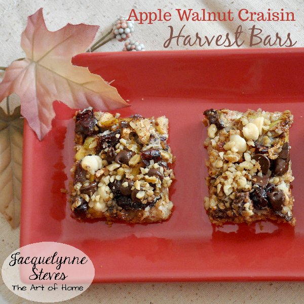 Apple Walnut Craisin Harvest Bar Cookies Recipe- Jacquelynne Steves