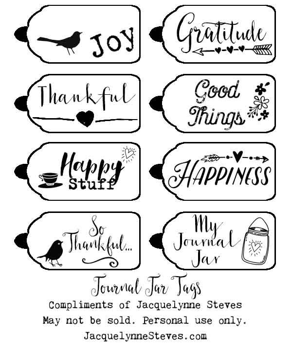 Journal Jar Printable Tags- Jacquelynne Steves