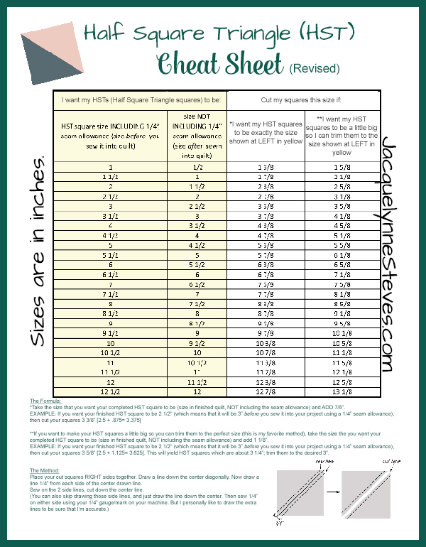 Half Square Triangle Hst Cheat Sheet And Tutorial Jacquelynne Steves