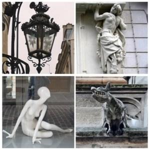 collections d'objets mille fois vus dans la rue. Lampadaires, cariatides, mannequins, gargouilles... et mille autres choses