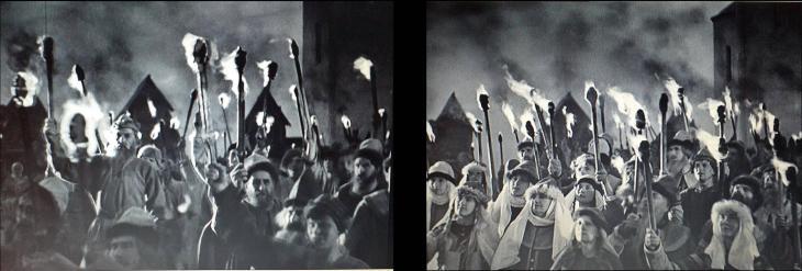 Alexandre Newski mobilise le peuple des paysans. Les hommes mais aussi les femmes