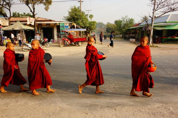 Young monks in the street in Hispaw