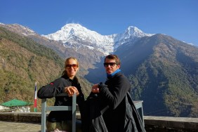 Us still at Chhomorong before heading entering the valley leading to Annapurna base camp